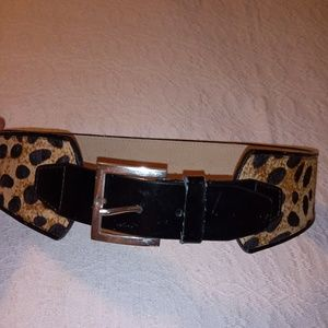 Calvin Klein Belt Cow Hide Leopard Print sz Small